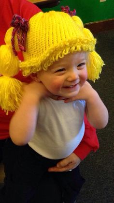 Cabbage Patch Wig Hat made on knitting loom