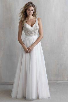 ivory a line straps sweepbrush train tulle fabric boho wedding dress with beading