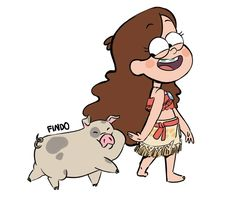 Gravity Falls - Mabel and Waddles - ( Moana and the pig Pua version ) . Disney And Dreamworks, Disney Pixar, Disney Characters, Fictional Characters, Gavity Falls, Gravity Falls Fan Art, Desenhos Gravity Falls, Mabel Pines, Dipper Pines