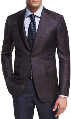 Brioni Plaid Wool Two-Button Sport Coat