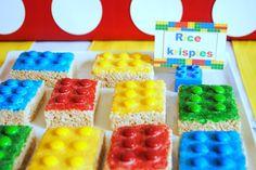 Karo's Fun Land: Legos First Birthday Party: rice Krispies