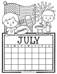 Free set of Calendar for students to Write and Color. This set is super cute and features monthly themes and holidays. Perfect for Preschool Daily Caledar Calendar 2019 And 2020, Summer Calendar, July Calendar, Kids Calendar, Calendar Pages, Calendar Ideas, Calendar Design, 2018 Calendar Printable Free, Monthly Calendar Template