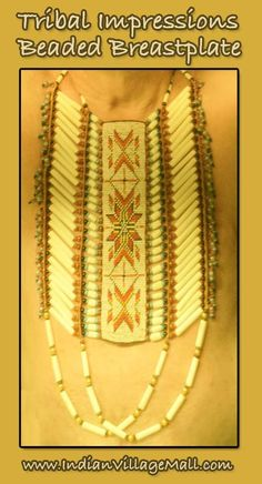 Beaded Warrior's Breastplate. Review the complete line of Tribal Impressions Breastplates off of: http://indianvillagemall.com/dreamcatchers/breastplates.html