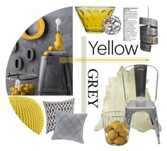 """""""Yellow & grey"""" by viannmarie ❤ liked on Polyvore featuring interior, interiors, interior design, home, home decor, interior decorating, Tolix, Alessi, CB2 and Leonardo"""