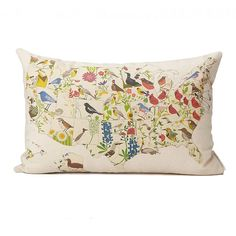 Birds and Blooms Pillows - US Map | geographic pillows, state bird, state flower | UncommonGoods