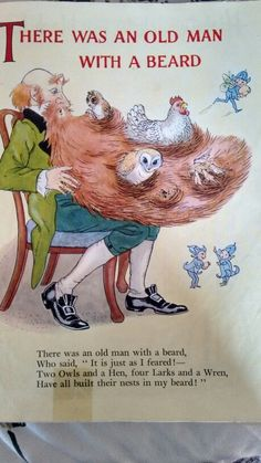 "Hilda Boswell Nursery Rhymes I remember this exact artwork, but thought how amusing it applies today with the ""beard craze""! Nursery Rhymes Poems, Rhymes Songs, Nursery Stories, Old Children's Books, Vintage Children's Books, Nursery Rymes, Rhymes For Kids, Children Rhymes, Pomes"
