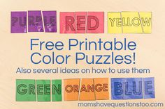 45 best Color Games images on Pinterest   Day Care, Activities and ...