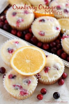 Homemade Cranberry Orange Muffins with plump, fresh cranberries, orange juice and zest, topped with an orange glaze!