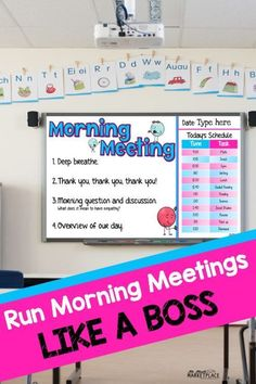 Looking to build community, engage students, keep students on track for the day, and show gratitude? Then you are ready to run morning meetings like a boss! Morning meetings have been a total game changer for me this year and I will never look back. Classroom Procedures, Classroom Behavior, Future Classroom, School Classroom, Classroom Organization, Classroom Management, Classroom Meeting, Behavior Management, Building Classroom Community