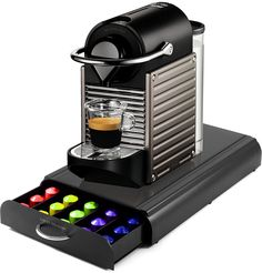 Nespresso C60 Pixie Electric Titan Automatic Espresso Machine with Bonus Mind Reader 50 Capsule Storage Drawer >>> Learn more by visiting the image link.