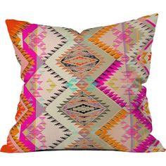Pattern State Marker Southern Sun Throw Pillow x Multicolor, Deny Designs(Polyester, Geometric) Modern Throw Pillows, Outdoor Throw Pillows, Decorative Throw Pillows, Bright Pillows, Colorful Pillows, Up House, House Porch, Textiles, Dot And Bo