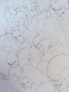 Dessin : Équipe de l'Univers 7 Mega Anime, Manga Dragon, Ball Drawing, Anime Drawings Sketches, Fantasy Dragon, Drawing Reference Poses, Z Arts, Dragon Ball Gt, Fan Art