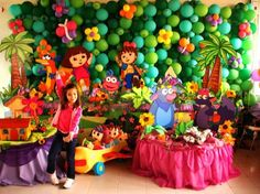 I like how the balloons look like a jungle! Garden Party Decorations, Balloon Decorations, Birthday Party Decorations, Twin Birthday Parties, Birthday Fun, Diego Go, Dora And Friends, Balloon Crafts, Dora The Explorer