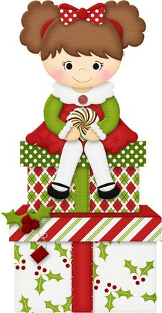 CHRISTMAS LITTLE GIRL AND GIFTS CLIP ART