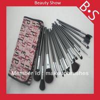 18pcs profesionales de maquillaje barato sistema de cepillo / kit , Belleza / Mejor Negro Brillante de cepillo cosméticos , Excelente bolsa de cuero