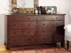 Wooden dresser. Adds character to a room..