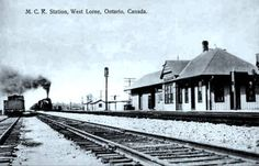 WEST LORNE , Ontario - Central Mihigan Railroad station -vintage pc