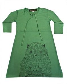 Green Girls Owl Dress