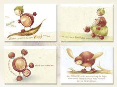 Kastanienmännchen - Postkarten-Set - 4 Postkarten A6  **- bitte bei der…