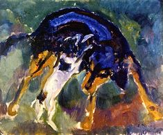 Two Dogs / Edvard Munch - 1911-1912