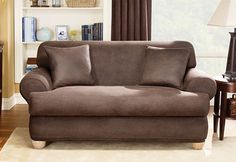 Sure Fit Slipcovers Stretch Leather Separate Seat T-Cushion - Sofa T-cushion for the family room and living room.  update sofas without buying new ones!