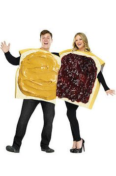 Halloween Costumes Couples: Peanut Butter And Jelly Couple Adult Halloween Costume -> BUY IT NOW ONLY: $35.06 on eBay!