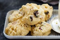 I've added white chocolate and cranberries to a basic biscuit recipe to create a Christmas feel. You can, of course, use this mix all year round and add chocolate chips, peanuts, raisins or whatever else is in the cupboard.