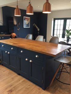 A beautiful example of a handmade bespoke shaker kitchen, handpainted in F&B blu. A beautiful example of a handmade bespoke shaker kitchen, handpainted in F&B blue with oak worktops, Open Plan Kitchen, Kitchen Redo, Home Decor Kitchen, Kitchen Interior, New Kitchen, Home Kitchens, Kitchen Remodel, Vintage Kitchen, Kitchen Ideas