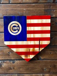 Chicago Cubs Home Plate Flag - Wood American Flag - Home Plate - Baseball Sign