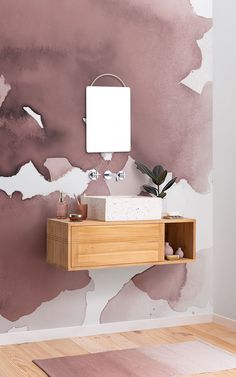 Craft a pefectly pink powder room using the Fog mural, hand painted in a Dusky Pink colour. This wallpaper is ideal if you want to introduce a pink aesthetic into your bathroom in a graceful, stylish way. Watercolor Wallpaper, Pink Wallpaper, Colorful Wallpaper, Pink Watercolor, Photo Wallpaper, Murs Roses, Color Rosa Claro, New Bathroom Ideas, Pink Home Decor