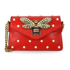Gucci Broadway Pearly Embellished Leather Clutch ($2,980) ❤ liked on Polyvore featuring bags, handbags, clutches, red, mini purse, studded purse, mini handbags, studded clutches and red purse