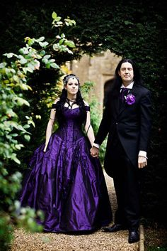 Purple Wedding Dress Again Thinking Of Silver Embridery And Crystals Rather Then The Black