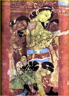 Ajanta Cave paintings  Tagged as common women at household chores love the hairstyles here