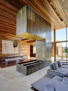 Image 5 of 17 from gallery of Sam's Creek / Bates Masi Architects. Photograph by Bates Masi Architects Modern Wood House, Modern House Design, Living Room New York, Fireplace Design, Open Fireplace, Metal Fireplace, Fireplace Modern, Custom Fireplace, House In The Woods