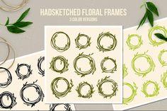 Handsketched Floral Frames by hellokisdottir on Envato Elements Floral Frames, Rustic Wedding Colors, Wordpress Template, Flat Illustration, Calla Lily, Drawing Tips, Vector Design, Free Design, Design Trends