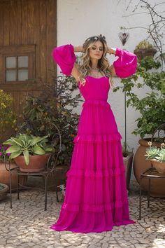 Vestido longo pink #ootd #outfits #dresses #pink #looks