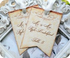 Personalized with your guests name and table number.    *Printed on linen cardstock. *Hand Cut  *Available in any quantity.  *Available