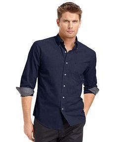 Izod Big and Tall Shirt, Long-Sleeve Essential Solid Shirt - Big & Tall Casual Shirts - Men - Macy's