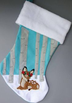 Deer Christmas StockingSweet Fawn in a Birch Baby Christmas Stocking, Kids Christmas Stockings, Felt Stocking, Stocking Tree, Christmas Sewing, Christmas Deer, Christmas Goodies, Christmas Projects, Holiday Crafts