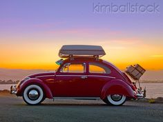 AUT 22 RK2838 01 - 1964 Volkwagen Beetle Red With Topper Tent Profile View On Pavement By Ocean - Kimballstock
