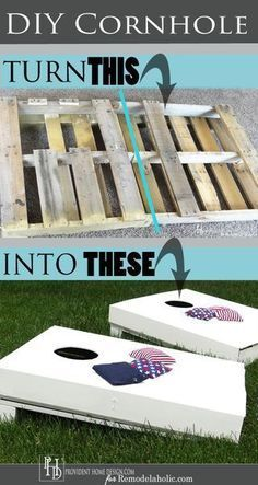 Save money and make family memories by making your own DIY cornhole set! Use a p… Save money and make family memories by making your own DIY cornhole set! Use a pallet as the base to save time and cash for this fun outdoor game. Diy Pallet Furniture, Diy Pallet Projects, Woodworking Projects, Furniture Projects, Diy Pallet Gift Ideas, Diy Outdoor Wood Projects, Bedroom Furniture, Wooden Pallet Crafts, Pallet Couch