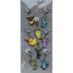 Eevee, Flareon, Vaporeon, Jolteon, Espeon, Umbreon, Leafeon & Glaceon Pokemon Charms