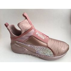 Kylie Jenner Puma Fierce Swarovski Bling Shoes (5,005 MXN) ❤ liked on Polyvore featuring shoes, rose shoes, long shoes, jeweled shoes, swarovski crystal shoes and shiny shoes