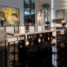 Contemporary Ebony Gold Leaf Dining Table at Juliettes Interiors. Centre Table Design, Dinning Table Design, Dining Room Table Decor, Glass Dining Table, Room Decor, Luxury Dining Tables, Modern Dining Room Tables, Dining Rooms, Dining Area