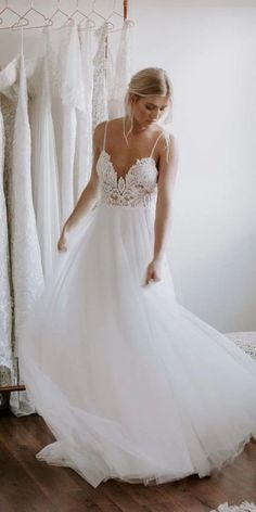 A-Line Wedding Dress with Lace, Backless Wedding Bride Dress, Unique Wedding Dresses Wedding Dresses With Straps, Wedding Dresses Plus Size, Best Wedding Dresses, Bridal Dresses, Wedding Gowns, Tulle Wedding, Beach Theme Wedding Dresses, Boho Wedding, Deb Dresses