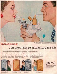 1956 Zippo Lighters Original Vintage Print Ad Old Ad Zippo Slim Lighter | eBay