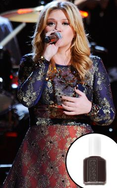 """Kelly Clarkson, Essie """"little brown dress"""". This nail polish junkie is loving the recent attention to nails in pop culture."""
