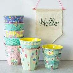 Two Toned Patterned Melamine Cups