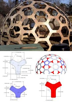 """Pattern for a 12'(3.7m) diameter Hex Dome.  Build using 3/8""""(10mm) plywood."""
