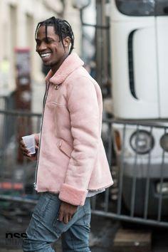 New York Women Fashion Week FW15 cool man with pink coat